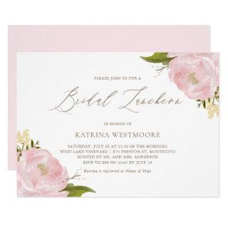 Watercolor Pink Peonies Bridal Luncheon Invitation
