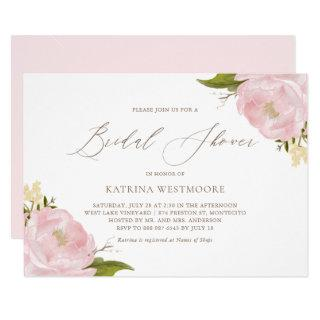 Watercolor Pink Peonies Bridal Shower Invitation