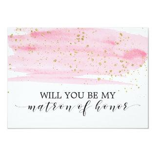 Watercolor Pink Will You Be My Matron Of Honor Invitation