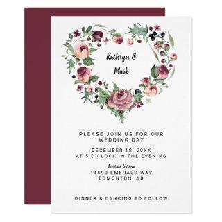 watercolor plum berries flowers heart wreath chic Invitations