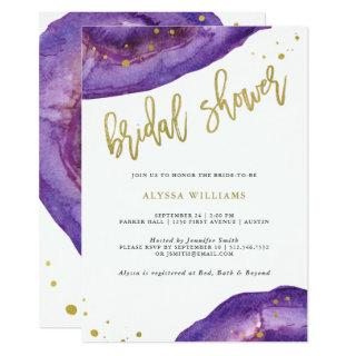 Watercolor Purple and Gold Geode Bridal Shower Invitations
