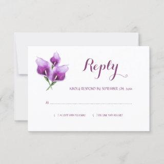 Watercolor Purple Calla Lily Monogram Wedding RSVP Card