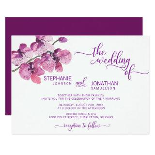 Watercolor Purple Floral Orchid Flowers Wedding Invitations