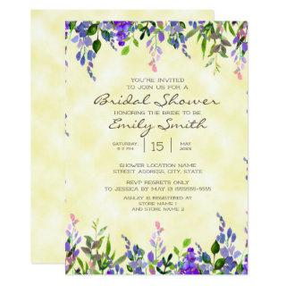 Watercolor Purple Floral Yellow Bridal Shower Invitations