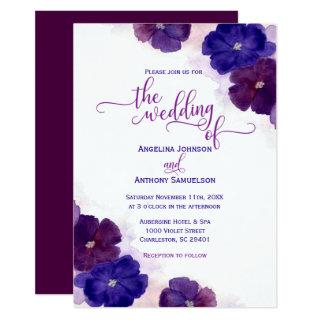 Watercolor Purple Plum Royal Blue Floral Wedding Invitation