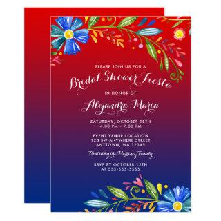 Watercolor Red Blue Floral Fiesta Bridal Shower Invitations