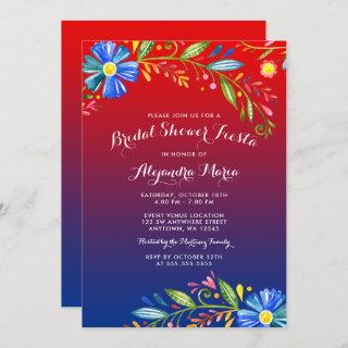 Watercolor Red Blue Floral Fiesta Bridal Shower Invitation