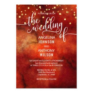 Watercolor RED Marsala GOLD Wedding Invitations