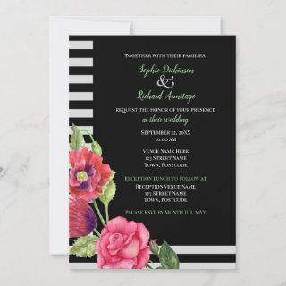 Watercolor Red Poppies and Pink Rose Illustration Invitation