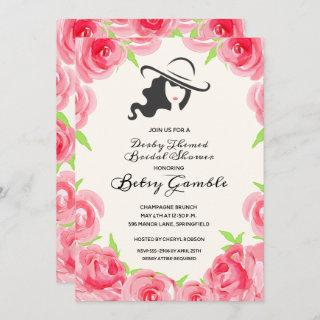 Watercolor Rose Derby Bridal Shower Invitations