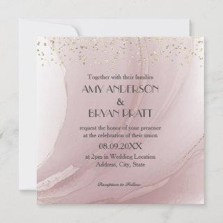 Watercolor Rose Gold Marble Invitation