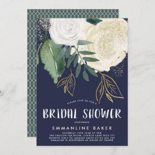 Watercolor Roses Cream and Navy Bridal Shower Invitation