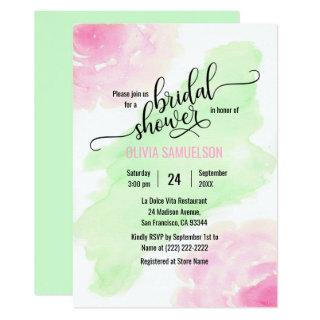 Watercolor Roses Pink & Mint Green Bridal Shower Invitations