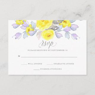Watercolor Roses | Yellow Purple and Gray | RSVP