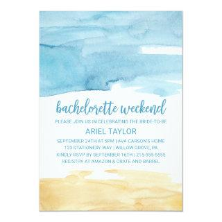 Watercolor Sand and Sea Bachelorette Weekend Invitations