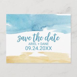 Watercolor Sand and Sea Save the Date Announcement Postcard