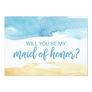 Watercolor Sand & Sea Will You Be My Maid of Honor Invitations