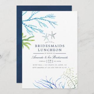 Watercolor Seaweed Beach Bridesmaids Luncheon Invitations