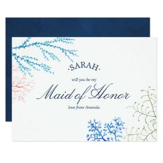 Watercolor Seaweed Beach Theme Be My Maid of Honor Invitation