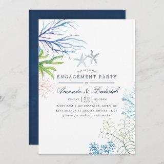 Watercolor Seaweed Beach Themed Engagement Party