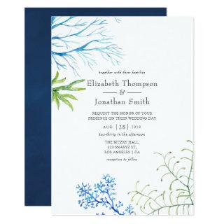 Watercolor Seaweed Beach Themed Wedding Invitations