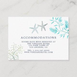 Watercolor Seaweed Beach Wedding Accommodations Enclosure Card