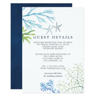 Watercolor Seaweed Beach Wedding Guest Details Invitations