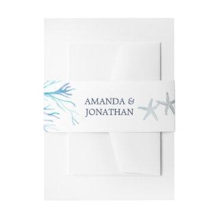 Watercolor Seaweed Beach Wedding Invitations Belly Band