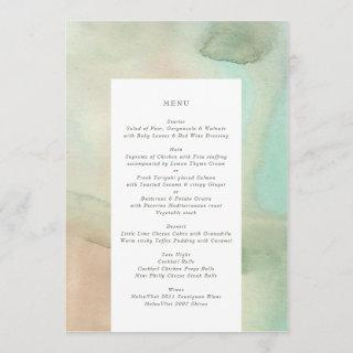Watercolor Soft Pastel Beach Wedding Menu