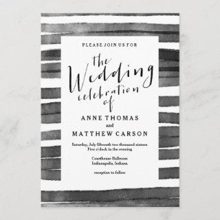 Watercolor Stripes | Wedding Invitation