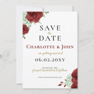 Watercolor succulent burgundy gold save the date