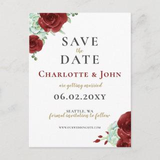 Watercolor succulent burgundy gold save the date announcement postcard