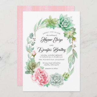 Watercolor Succulent Floral Bloom Rustic Wedding Invitation