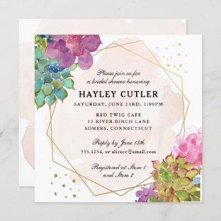 Watercolor Succulent Gold Terrarium Bridal Shower Invitation