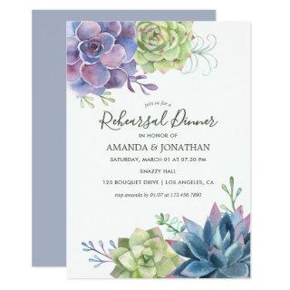 Watercolor Succulents Wedding Rehearsal Dinner Invitations