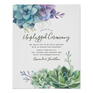Watercolor Succulents Wedding Unplugged Ceremony Poster