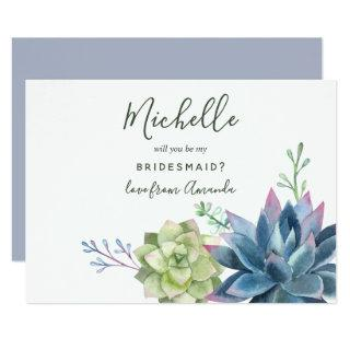 Watercolor Succulents Will You Be My Bridesmaid Invitations