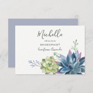 Watercolor Succulents Will You Be My Bridesmaid Invitation