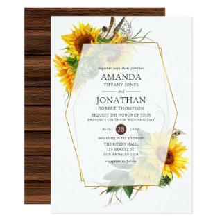 Watercolor Sunflower Rustic Geometric Wedding Invitations