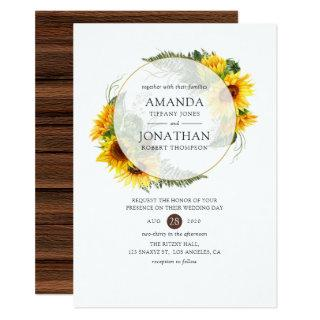 Watercolor Sunflower Rustic Geometric Wedding Invitation