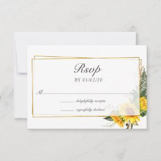 Watercolor Sunflower Rustic Geometric Wedding RSVP Card