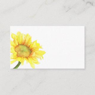 Watercolor Sunflower Wedding Blank Enclosure Card