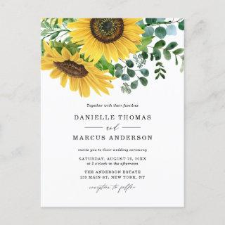Watercolor Sunflowers and Eucalyptus Wedding Invitation Postcard