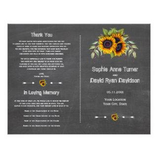 Watercolor Sunflowers Chalkboard Wedding Program