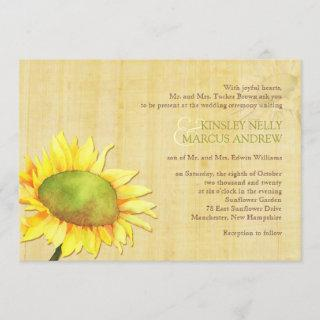 Watercolor Sunflowers Rural Wedding Invitations