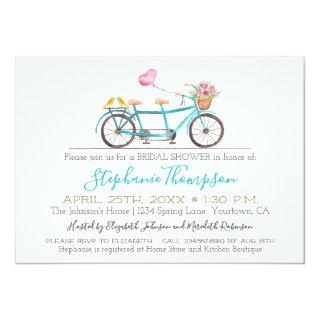 Watercolor Tandem Bicycle Bridal Shower Invitations