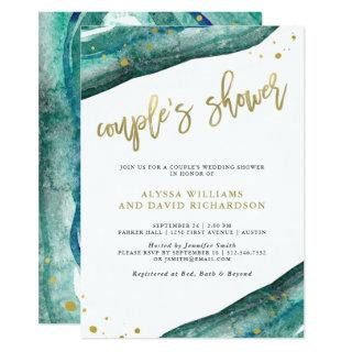 Watercolor Teal and Gold Geode Couples Shower Invitations