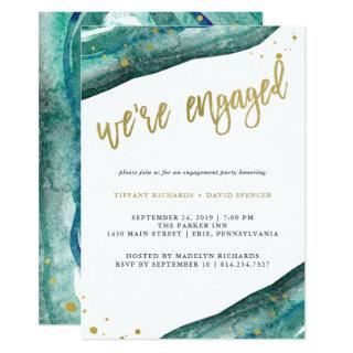 Watercolor Teal and Gold Geode Engagement Party Invitations
