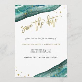 Watercolor Teal and Gold Geode Save the Date