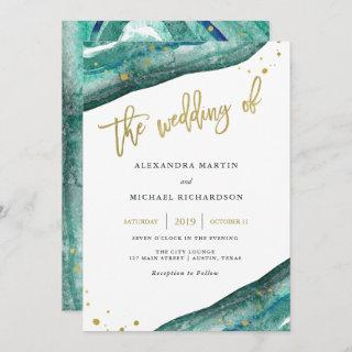 Watercolor Teal and Gold Geode Wedding Invitations